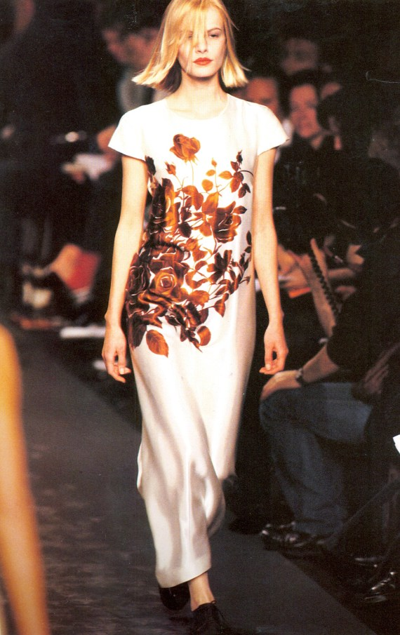 vaniitas archival Dries Van Noten white dress with orange flowers runway fall 1995