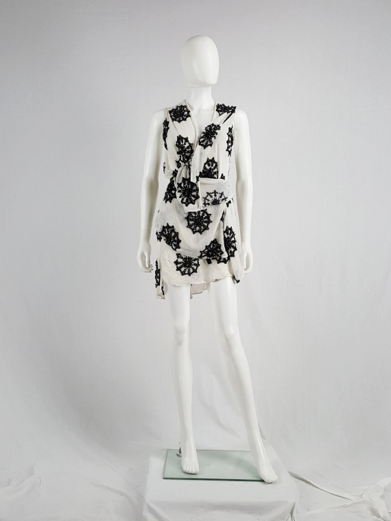 Ann Demeulemeester white skirt and top with black beaded print — spring 2009
