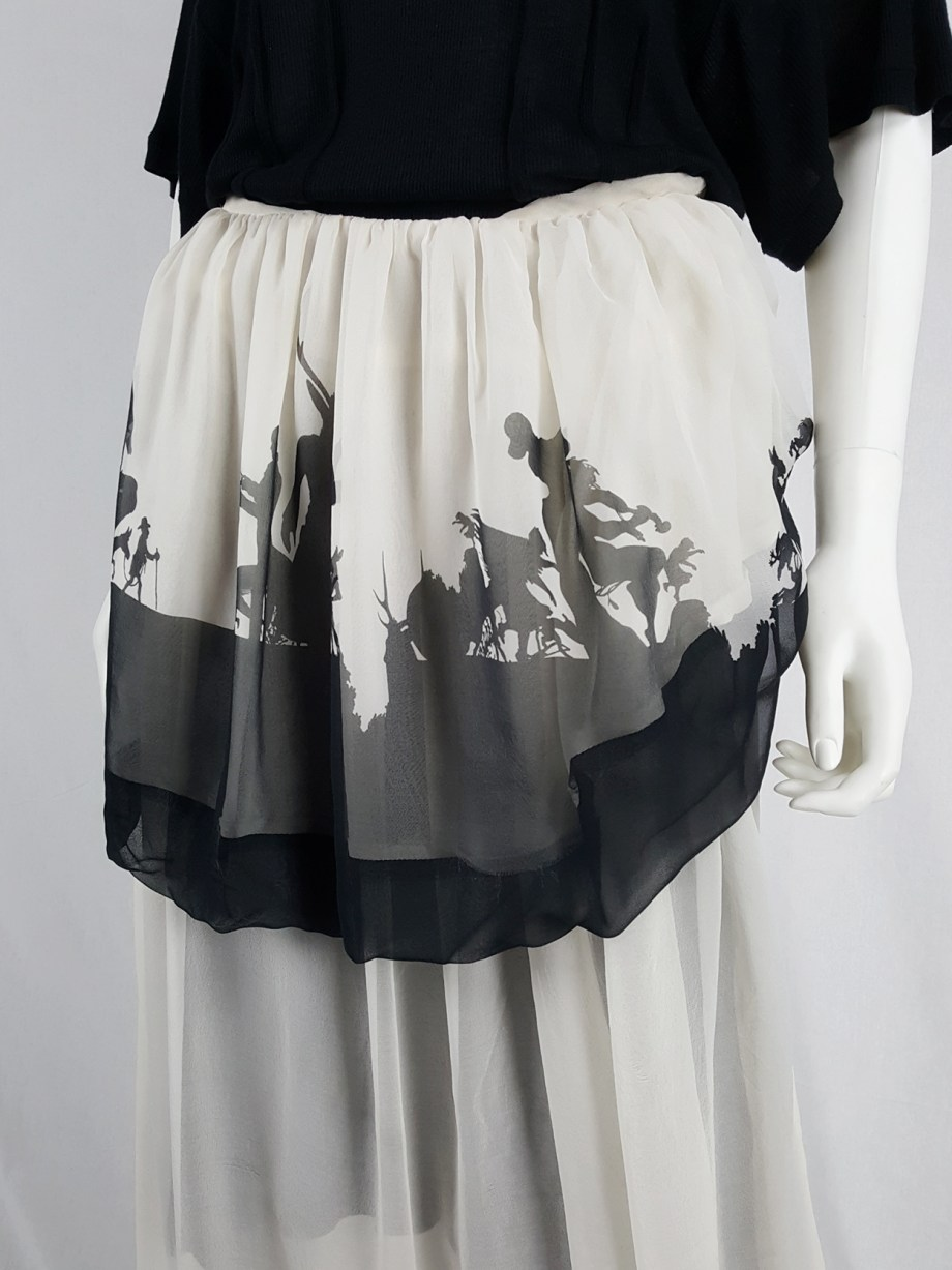 Ann Demeulemeester white skirt or top with black forest print — fall 2007