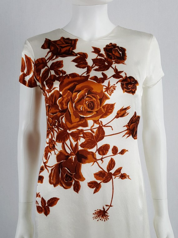 Dries Van Noten white dress with orange flowers — fall 1995
