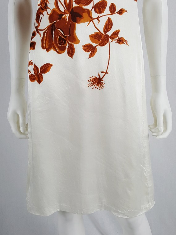 vaniitas vintage Dries Van Noten white dress with orange flowers runway fall 1995 121012(0)