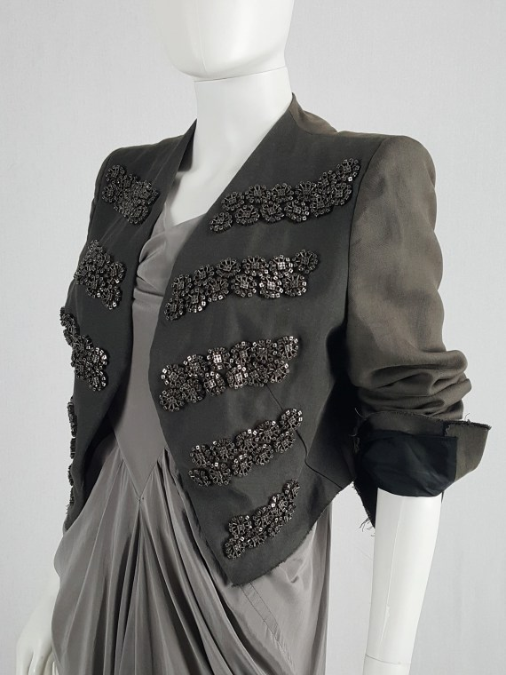Haider Ackermann brown blazer with beaded military detail — fall 2009