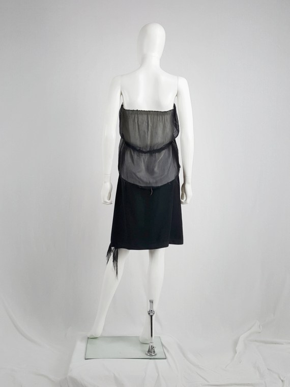 Maison Martin Margiela black tube top with white lining and frayed hems — fall 2004