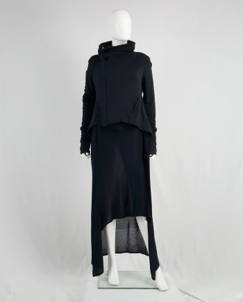 Rick Owens Lilies black classic biker jacket with asymmetric collar