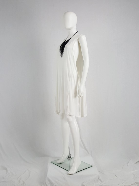 Ann Demeulemeester white dress with faux cape — spring 2013