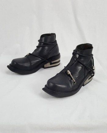 Dirk Bikkembergs black mountaineering boots with metal heel (41) — 1997