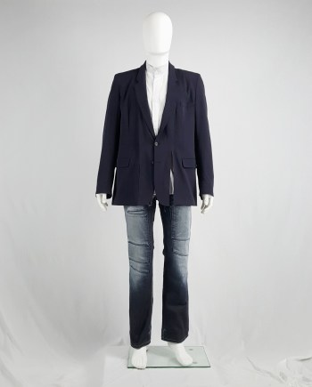 Maison Martin Margiela blue blazer with detachable frayed collar — spring 2001