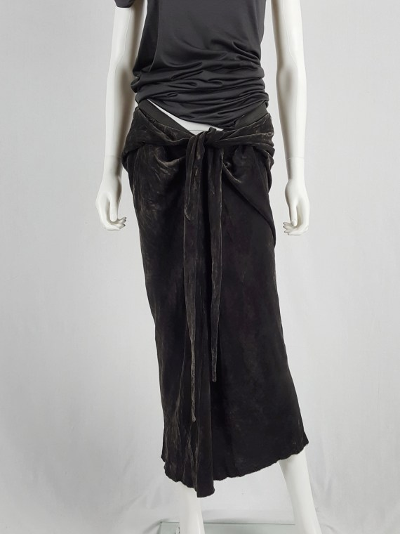 vaniitas Rick Owens MOOG brown velvet draped skirt with front ties runway fall 2005 161154