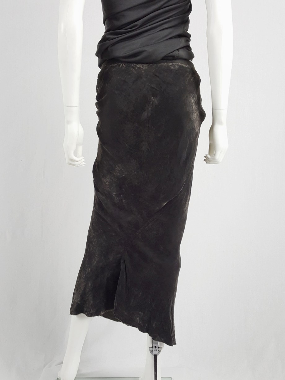 Rick Owens MOOG brown velvet draped skirt with front ties — fall 2005