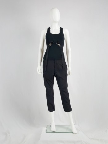 Y's Yohji Yamamoto black drop crotch trousers with cargo pockets