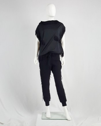 Y's Yohji Yamamoto black knit sweatpants with heavily frayed sides