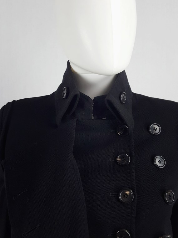 vaniitas vintage Ann Demeulemeester black asymmetric jacket with double button rows runway fall 2010 140840