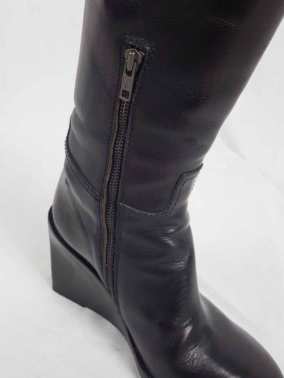 Ann Demeulemeester tall black wedge boots with belt strap detail (38)