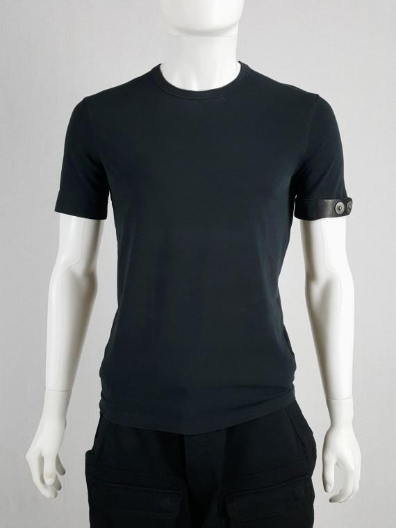Dirk Bikkembergs dark blue t-shirt with black leather belt around the sleeve
