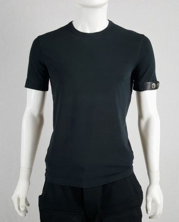 Dirk Bikkembergs dark blue t-shirt with black leather belt around the sleeve