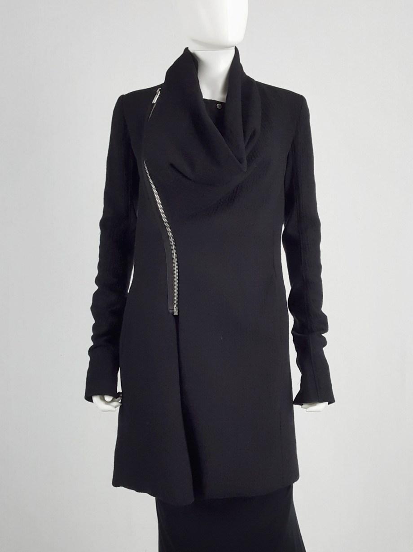 Rick Owens CRUST black coat with asymmetric zipper and cowl neck — fall 2009