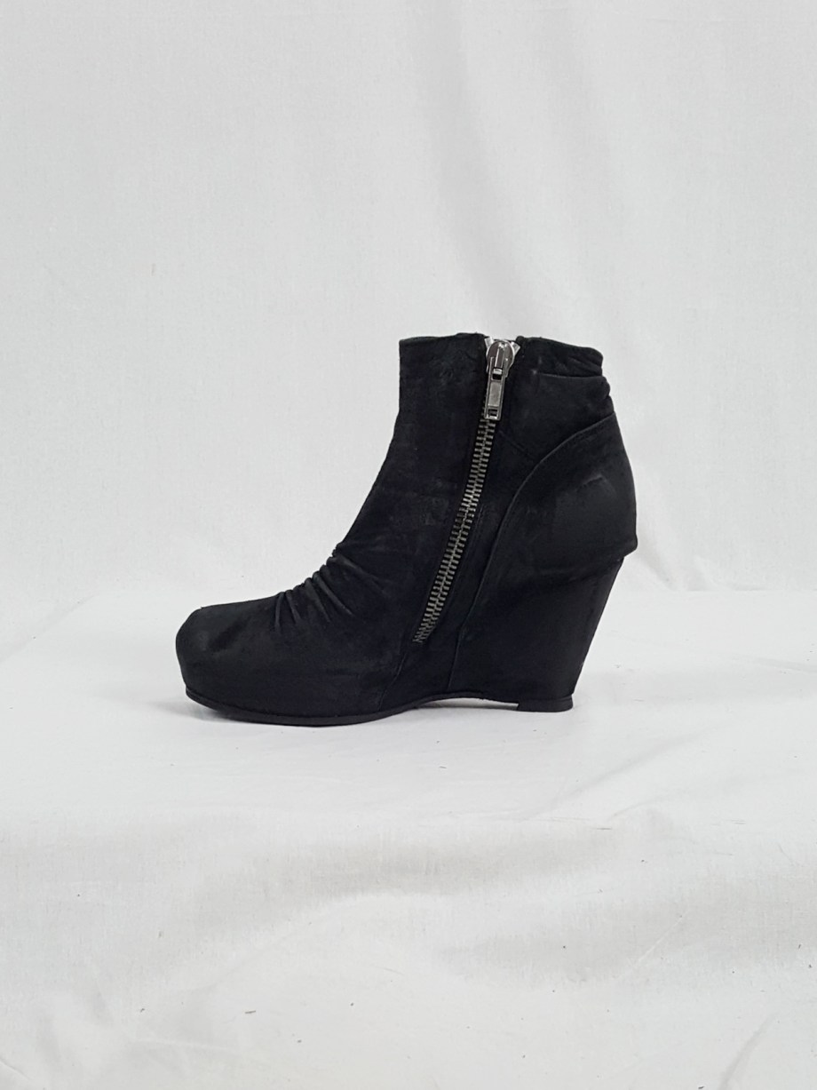 vaniitas vintage Rick Owens black suede ankle boots with wedge heel and hidden platform 152720