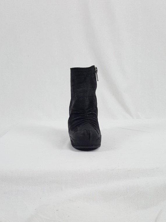 9f84e4f29a5 Rick Owens black suede ankle boots with wedge heel and hidden ...