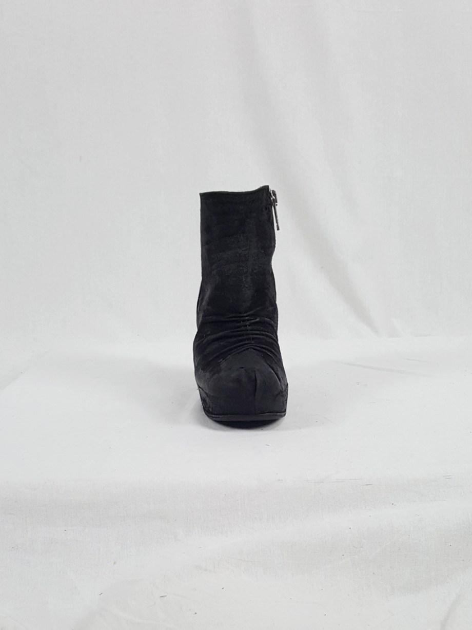 vaniitas vintage Rick Owens black suede ankle boots with wedge heel and hidden platform 152835