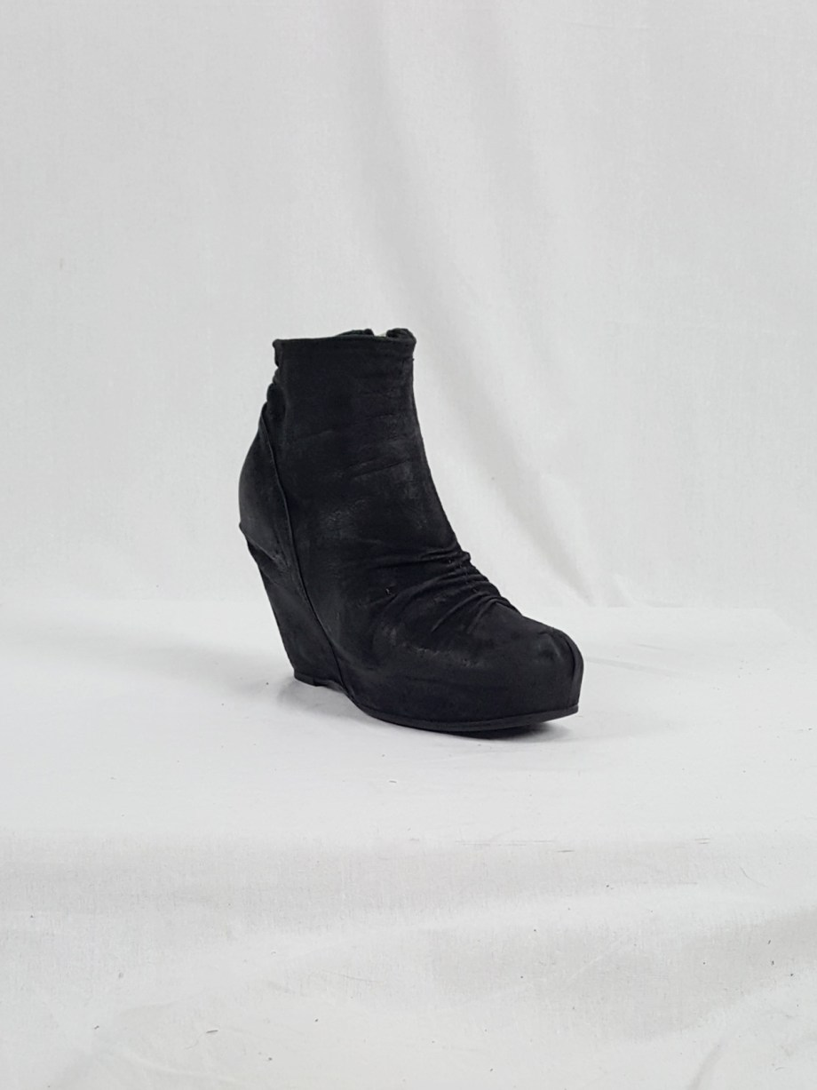 vaniitas vintage Rick Owens black suede ankle boots with wedge heel and hidden platform 152858