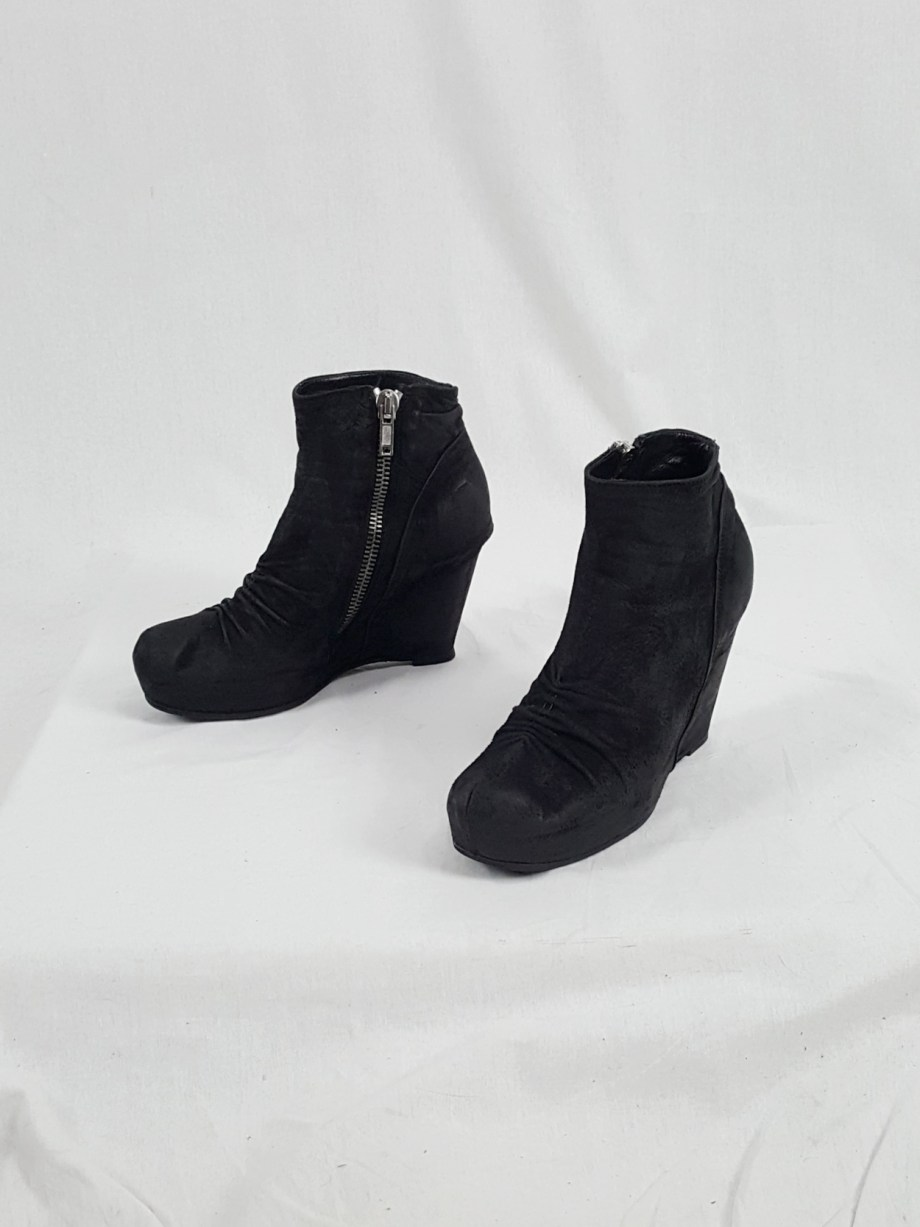 vaniitas vintage Rick Owens black suede ankle boots with wedge heel and hidden platform 153124