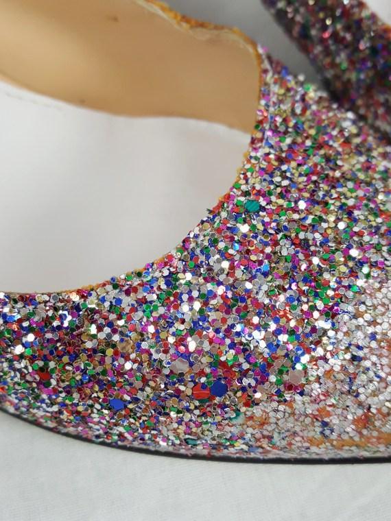 Maison Martin Margiela multicolour glitter afterparty kitten heels (37) — spring 2005