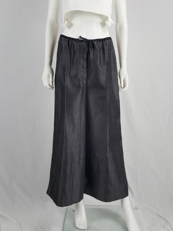 vaniitas vintage Ann Demeulemeester denim maxi skirt mimicking oversized trousers spring 1991 142658