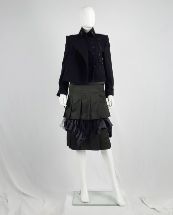 Comme des Garçons black pleated skirt with mesh and ruffle layers — fall 2004