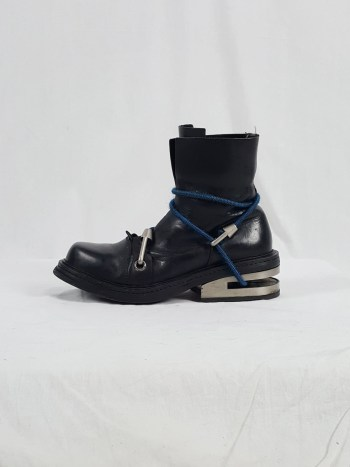 Dirk Bikkembergs black boots with blue mountaineering straps (41) — 1995