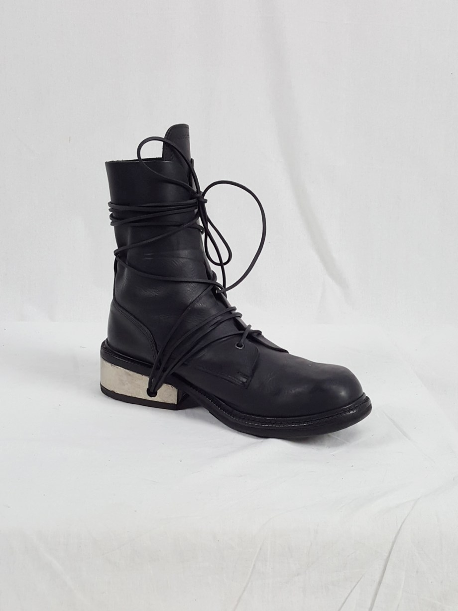 Dirk Bikkembergs black tall boots with laces through the metal heel (44) — late 90's
