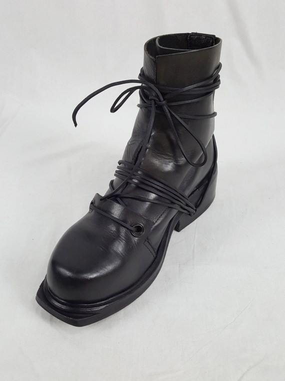 vaniitas vintage Dirk Bikkembergs black tall boots with laces through the soles 90s archive 103659