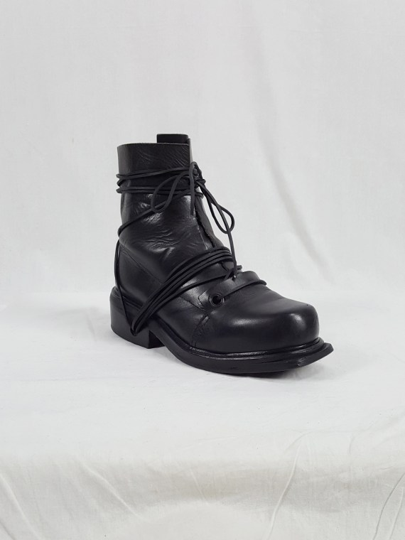 vaniitas vintage Dirk Bikkembergs black tall boots with laces through the soles 90s archive 104031