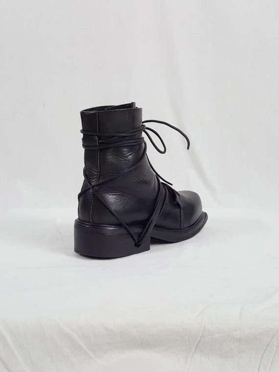 vaniitas vintage Dirk Bikkembergs black tall boots with laces through the soles 90s archive 104107