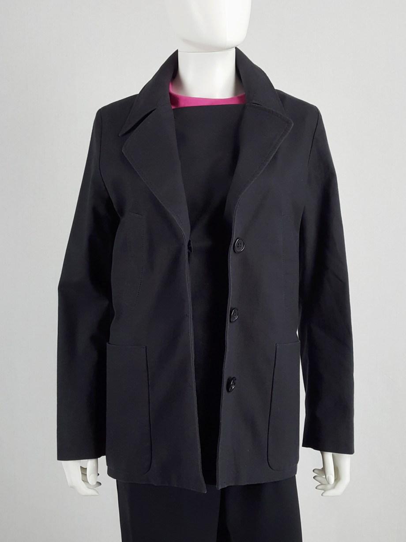 Maison Martin Margiela black coat with faux open front — spring 2007