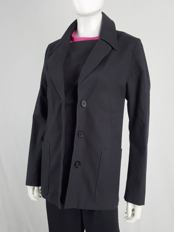 Maison Martin Margiela black coat with faux open front — spring 2007