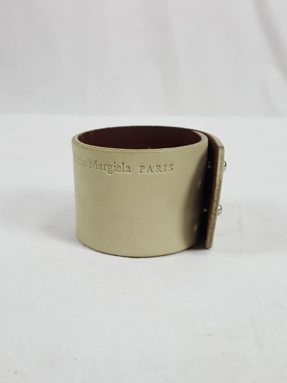 Maison Martin Margiela white leather bracelet with embossed logo — spring 2009