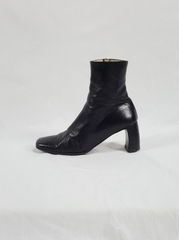Ann Demeulemeester black ankle boots with banana heel (39) — early 90's