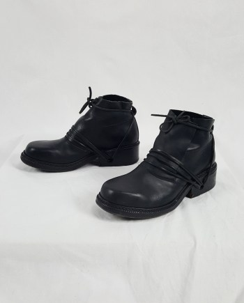 Dirk Bikkembergs black boots with laces through the soles (42) — late 90's
