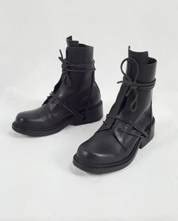 Dirk Bikkembergs black tall boots with laces through the soles (39) — late 90's