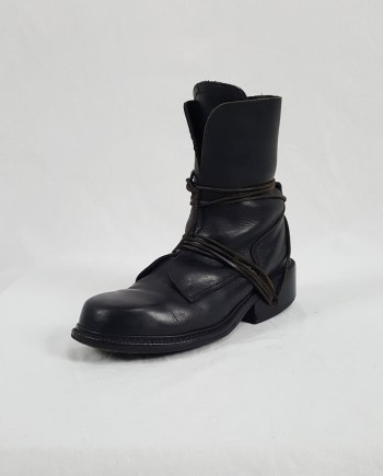 Dirk Bikkembergs black tall boots with laces through the soles (42) — late 90's
