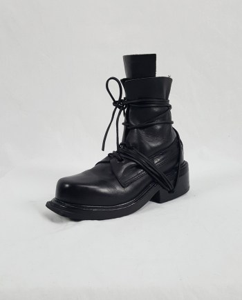 Dirk Bikkembergs black tall boots with laces through the soles (38) — late 90's