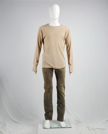 Maison Martin Margiela beige longsleeve top with flat neckline — 2000/2004