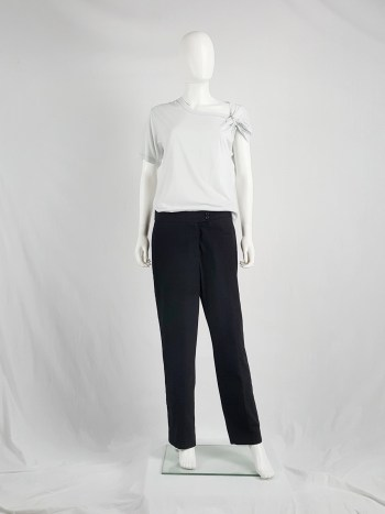 Maison Martin Margiela black trousers with split side and inserted panel — spring 2000