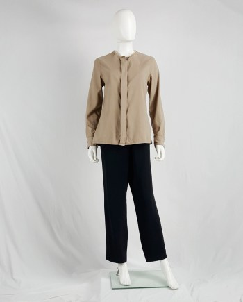 Maison Martin Margiela brown shirt with cut-off collar — spring 2003