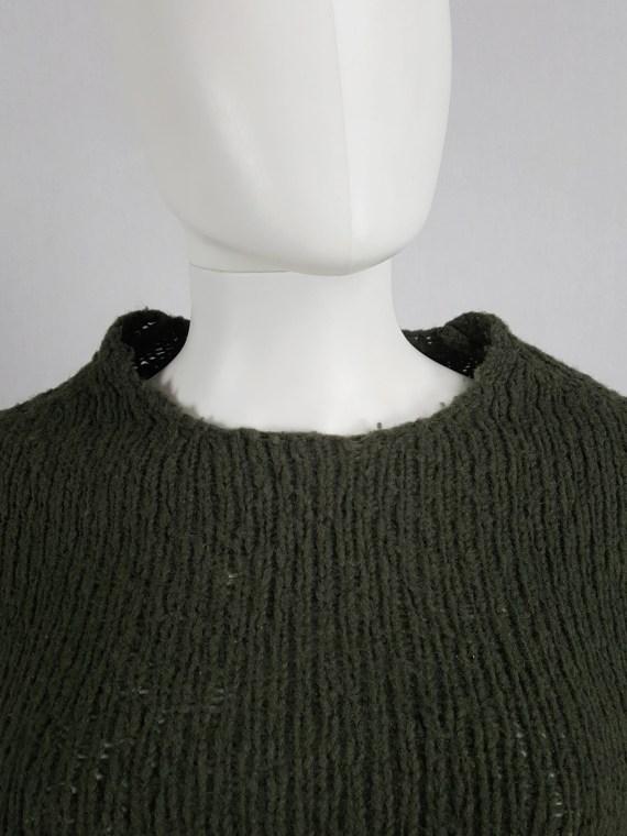 Maison Martin Margiela green flat jumper with standing neckline — fall 1998