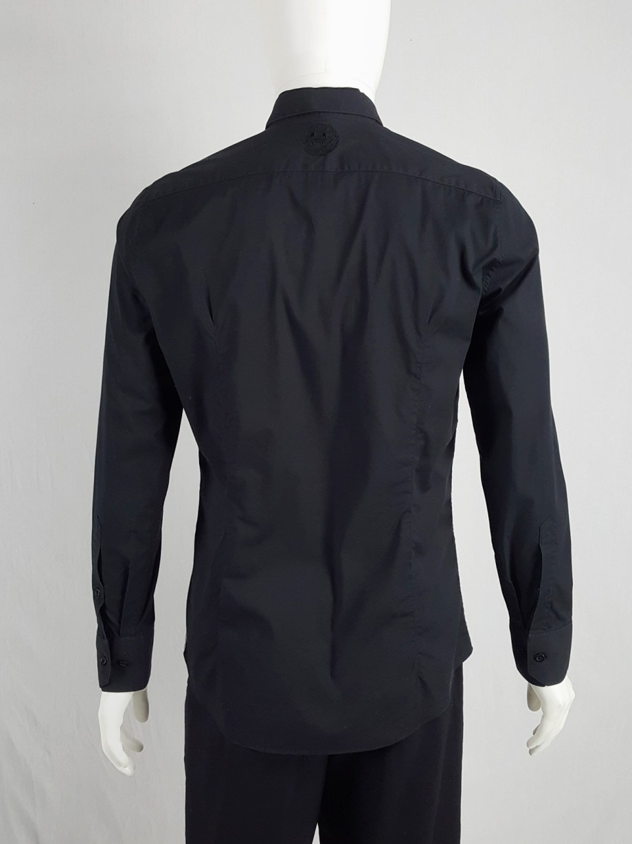 Dirk Bikkembergs black shirt with displaced collar
