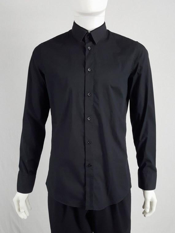 Dirk Bikkembergs black shirt with displaced collar