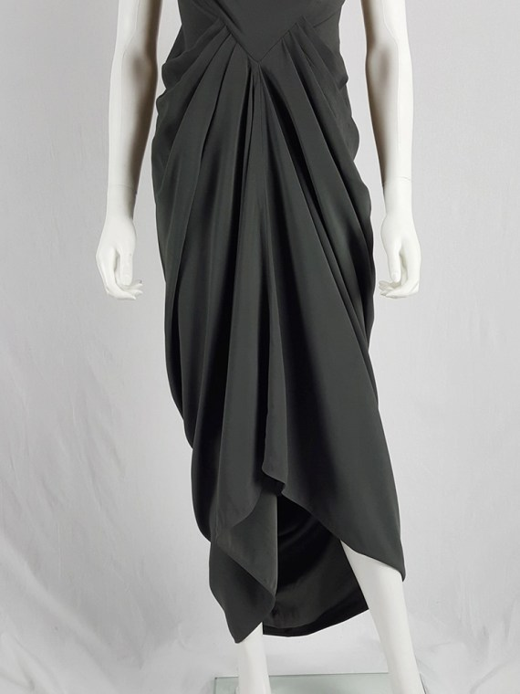 Rick Owens SPINX dust brown draped maxi dress with cowl neck — fall 2015