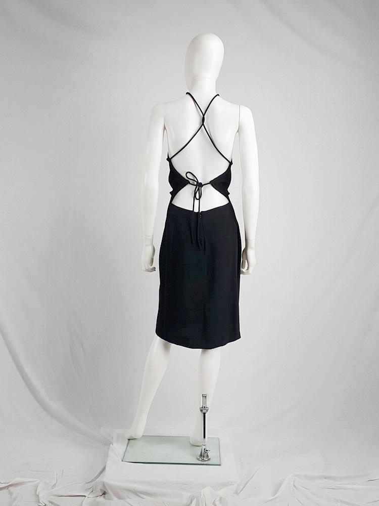vintage Maison Martin Margiela black backless dress with crossed straps — fall 2007