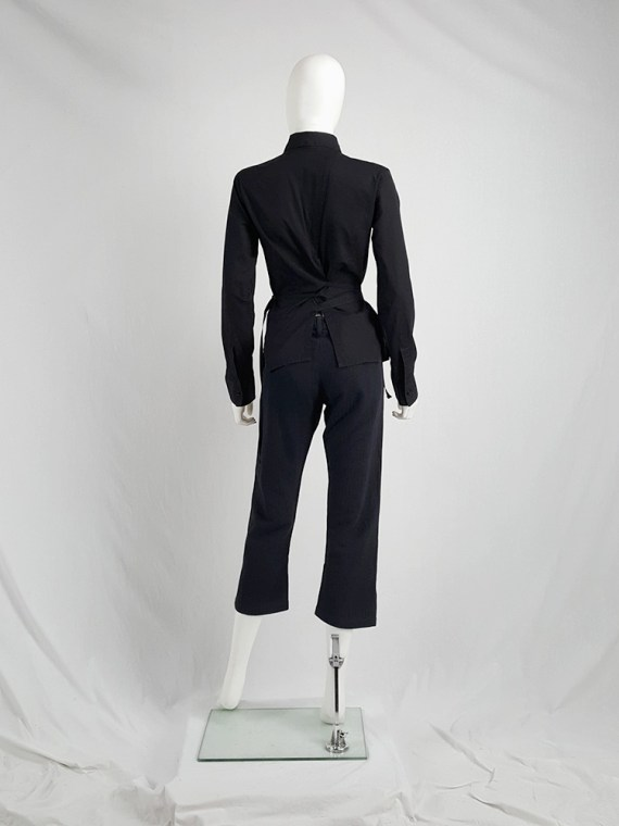 vaniitas vintage Dirk Bikkembergs black slit shirt with mountaineering belts 1990S 124807